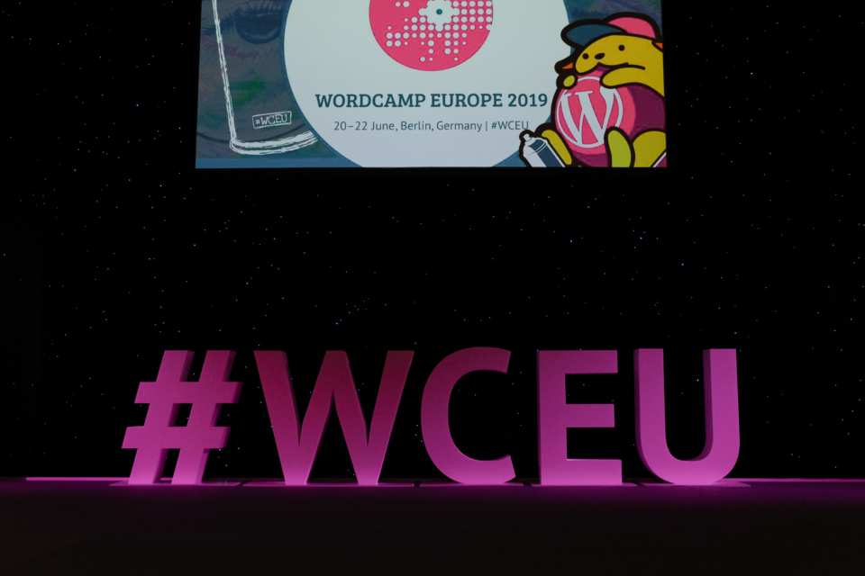 WCEU stage lettering